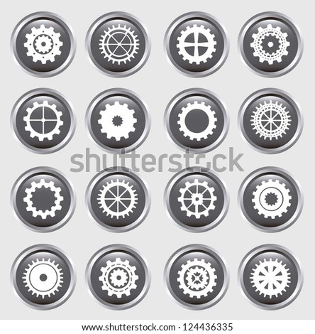 gears silhouette over buttons background. vector illustration - stock vector