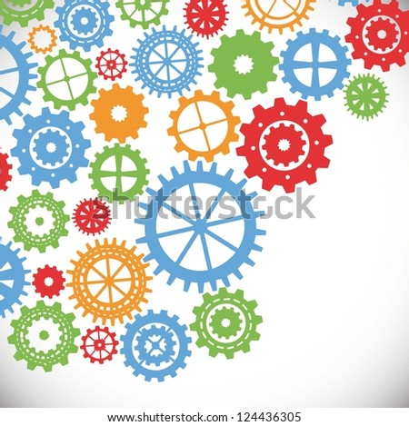 gears silhouette over gray background. vector illustration - stock vector