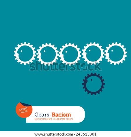 Gears supporting gears. Vector illustration Eps10 file. Global colors. Text and Texture in separate layers. - stock vector