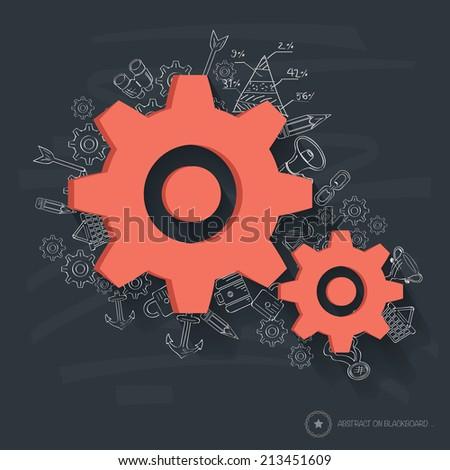 Gears symbol design on blackboard background,clean vector - stock vector