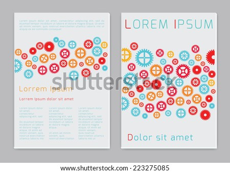 Gears. Vector  business brochure or magazine cover  template - stock vector
