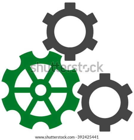 Gears vector icon. Gears icon symbol. Gears icon image. Gears icon picture. Gears pictogram. Flat green and gray gears icon. Isolated gears icon graphic. Gears icon illustration. - stock vector