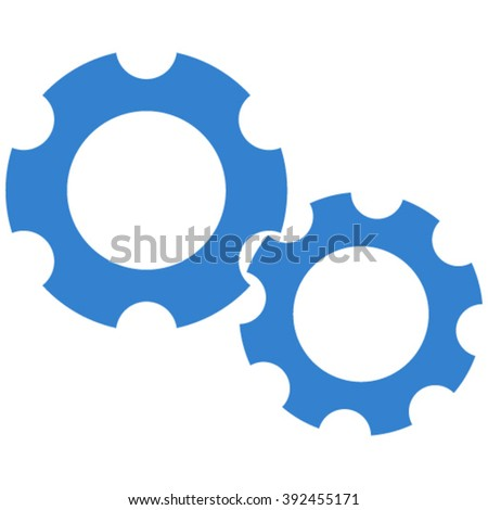 Gears vector icon. Style is flat icon symbol, cobalt color, white background.