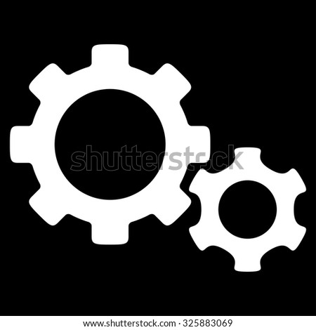Gears vector icon. Style is flat symbol, white color, rounded angles, black background. - stock vector