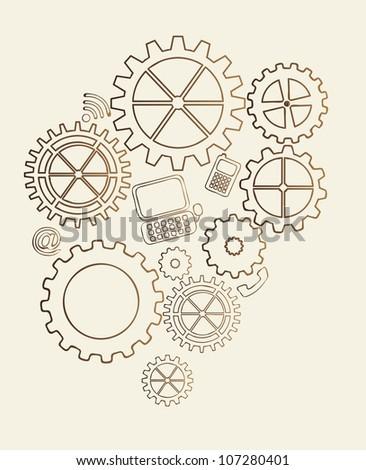gears vintage over beige background. vector illustration - stock vector