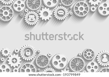gears with icons inside, add friend, bubble, lock and other - stock vector