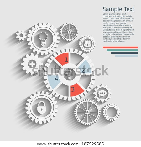 gears with icons inside, add friend, bubble, lock and other. Infographics design. - stock vector