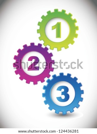 gears with numbers over white background. vector illustration - stock vector