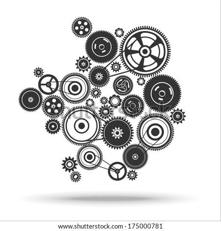 gearwheel mechanism background. Vector illustration - stock vector