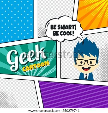 geek cartoon character comic book template - stock vector