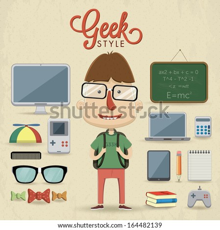 Geek character design. Vector illustration - stock vector