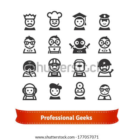 Geek Icon Set. Various Professionals in Vector. From Coder to Astronaut. - stock vector