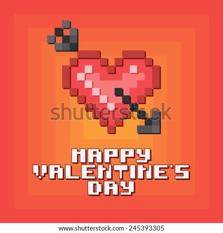 "Geek pixel postcard ""Valentine's day"" (Heart with arrow). - stock vector"