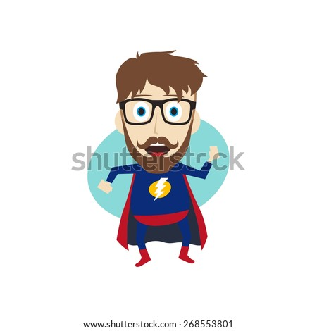 geek superhero - stock vector