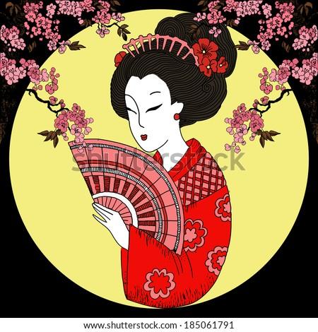geisha. Japanese Woman - stock vector