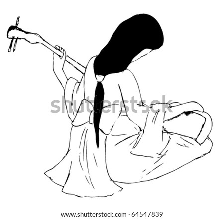 Geisha playing the Japanese musical instrument - stock vector