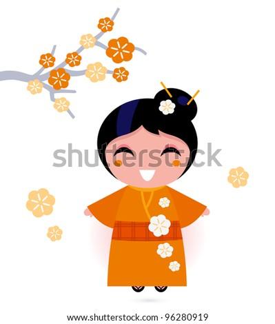 Geisha woman in orange kimono isolated on white - stock vector