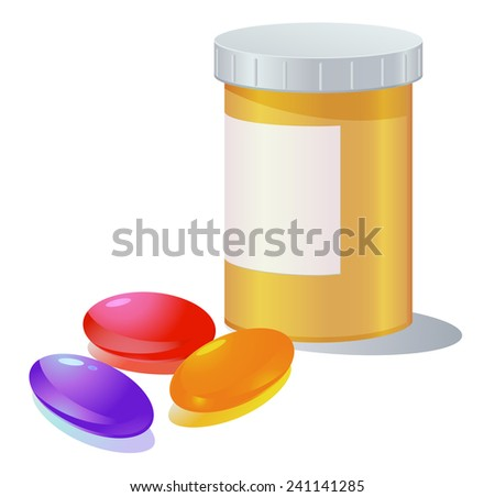 Gel capsule and medicine container vector - stock vector