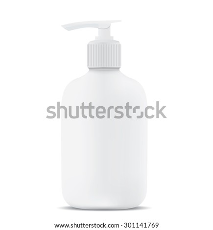 Gel, Foam Or Liquid Soap Dispenser Pump Plastic Bottle White.  - stock vector
