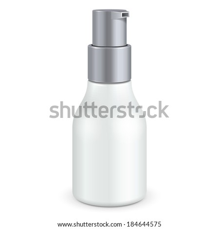 Gel, Foam Or Liquid Soap Dispenser Pump Plastic Bottle White Gray. Ready For Your Design. Product Packing Vector EPS10  - stock vector