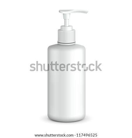 Gel, Foam Or Liquid Soap Dispenser Pump Plastic Bottle White. Ready For Your Design. Product Packing Vector EPS10 - stock vector