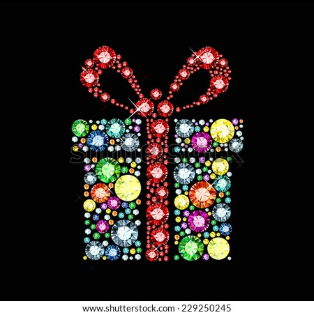 Gem gift box - stock vector