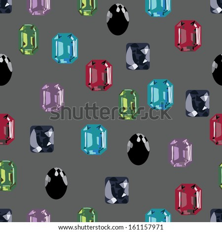 gemstone jewellery treasure seamless background - stock vector