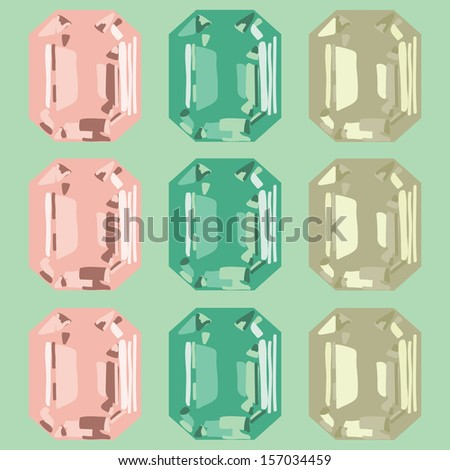 gemstone jewelry set of six crystals - stock vector