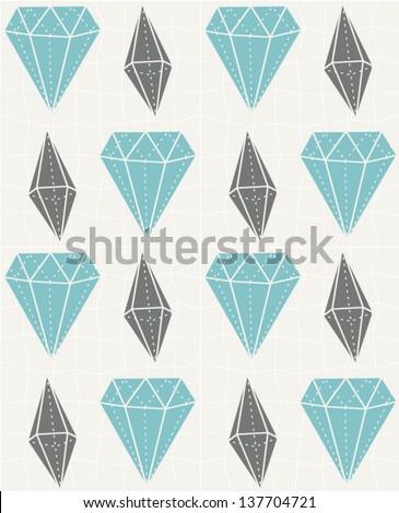 Gemstones seamless pattern. Diamond illustration background. Vector illustration - stock vector