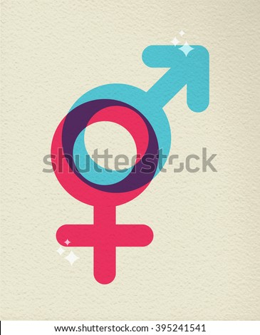 Gender icon concept, illustration of people sex boy and girl symbol in colorful style over texture background. EPS10 vector. - stock vector