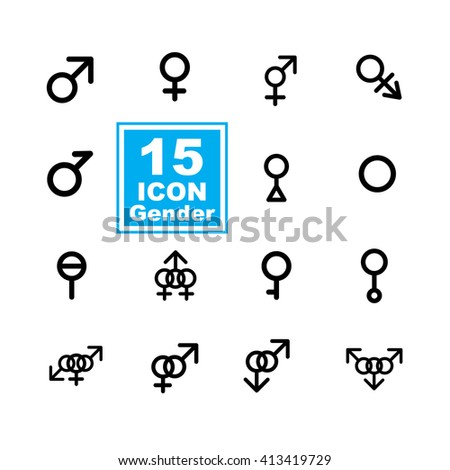 Gender icon set on white background - stock vector