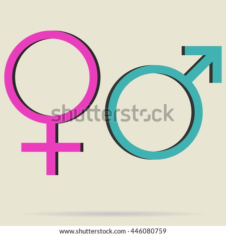 Gender Icon.Vector outlines icons of gender male and female symbols isolated on white background. Man and woman sign.