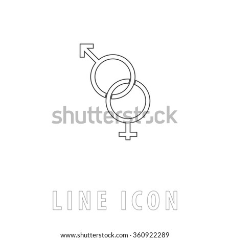Gender Outline simple vector icon on white background. Line pictogram with text  - stock vector