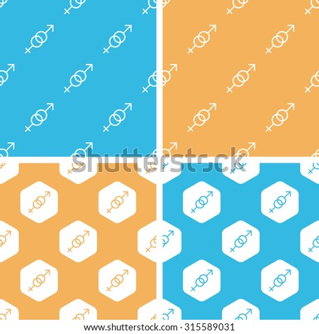Gender signs pattern set, simple and hexagon, on yellow or blue background - stock vector