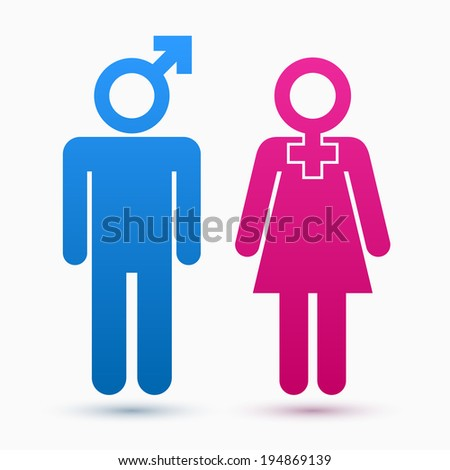 Gender symbols as woman and men silhouette - stock vector