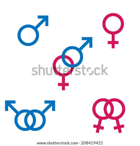 Gender Symbols In Colour - stock vector