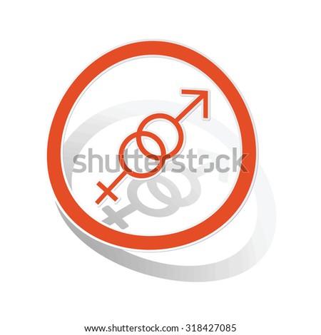 Gender symbols sign sticker, orange circle with image inside, on white background - stock vector