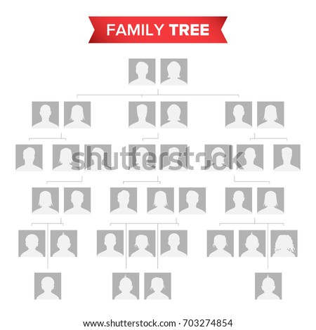 Genealogical Tree Template Vector Family History Stock Vector ...