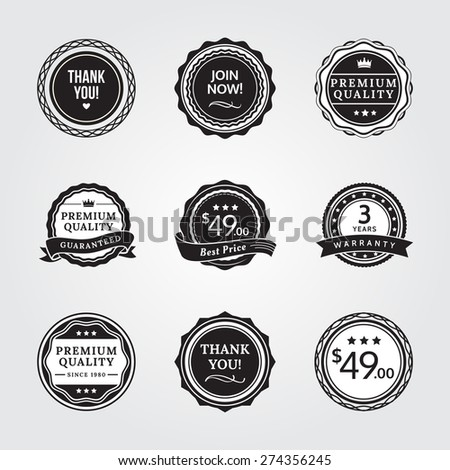 General Badges in Black and White Version. General badges set for your designs, such us for your product, online shop, email newsletter or email marketing, web banner, print ad, etc. - stock vector