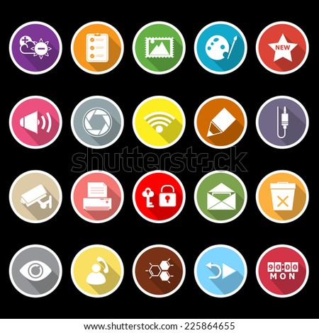 General computer screen flat icons with long shadow, stock vector