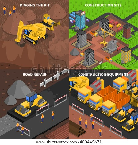 General construction concept  isometry with scenes of digging equipment site and road repair isolated vector illustration - stock vector