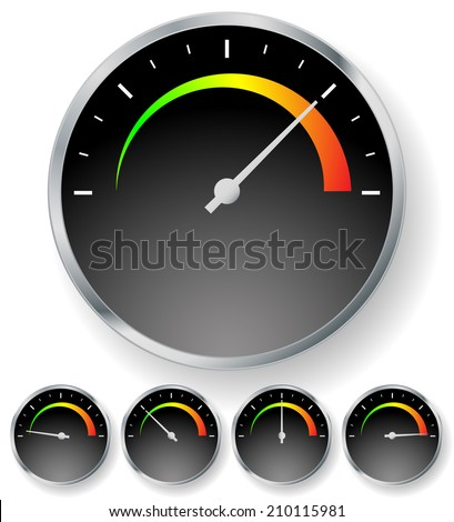 General Dial, gauge element (speedometer, RPM, moisture, pressure, temperature, strength etc.) - stock vector