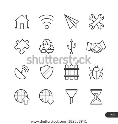 General Website & Mobile application Icons set - Vector illustration - stock vector