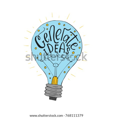 Generate ideas. Handdrawn brush lettering.  Business vector llustration with lightbulb for modern designs.