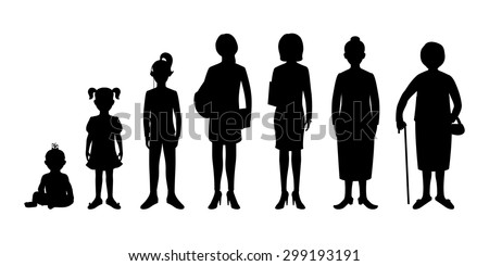 Generation of woman from infants to seniors. Baby, child, teenager, student, business woman, adult and senior woman. Vector illustration.  Realistic images isolated on white background. - stock vector