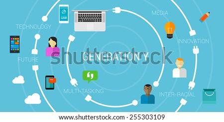 Generation Y or smartphone generation or millennials - stock vector