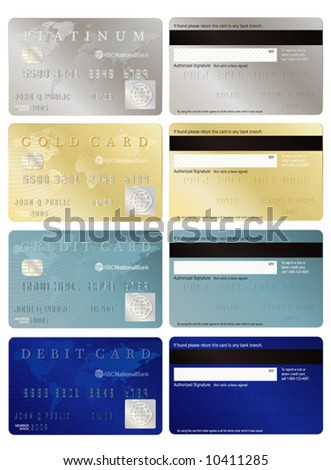 Generic credit and debit cards, front and back. - stock vector