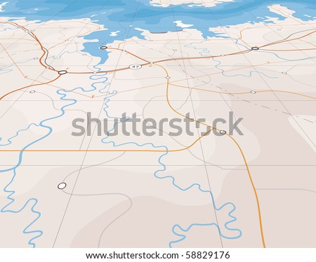 Generic editable vector map of a coastline with no names - stock vector
