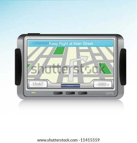Generic GPS Device icon with reflection - stock vector