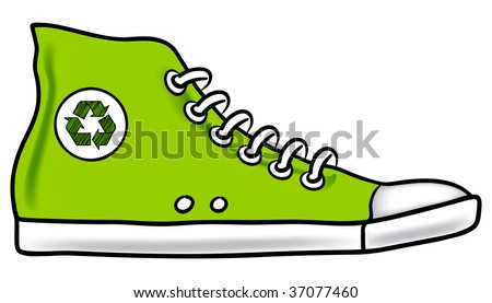 Generic green illustration of running shoe with recycle symbol encouraging you to choose walking instead of driving to reduce your carbon footprint - stock vector